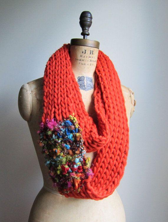 Bohemian knit loop infinity scarf. Orange. by Happiknits on Etsy, $76.00