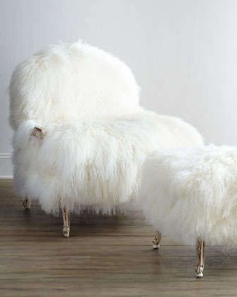 Worthen Sheepskin Bergere Chair by Old Hickory Tannery at Neiman Marcus.