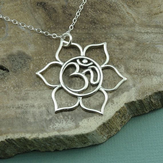 Om Lotus Flower Necklace  sterling silver om symbol  by TheZenMuse, $42.00