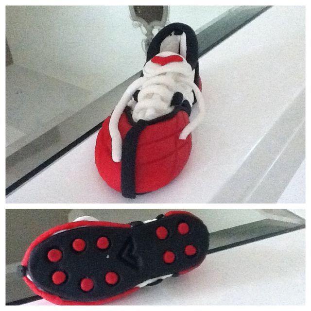 Chaussure de foot en pâte à sucre