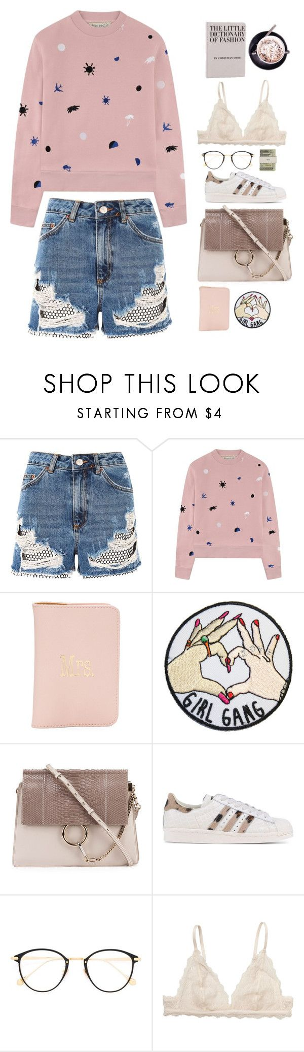 """Untitled #2901"" by wtf-towear ❤ liked on Polyvore featuring Topshop, Être Cécile, Chloé, adidas Originals, Frency & Mercury, Jack Spade and Monki"