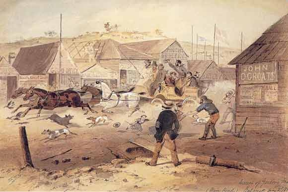 Arrival of the Geelong mail, Main Road, Ballarat, May 2nd, 1855