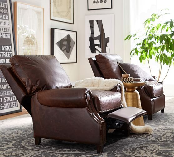 James Leather Recliner, Down Blend Wrapped Cushions, Burnished Wolf Gray