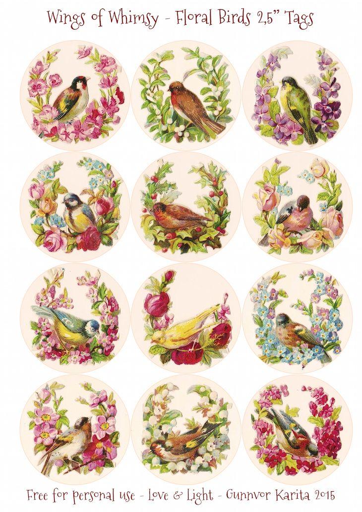 "Floral Birds 2.5"" Circles"