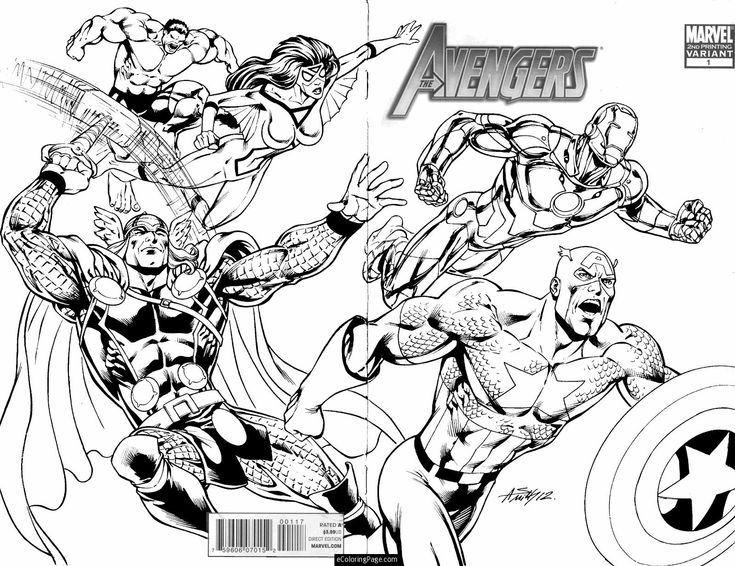 Marvel Superhero Avengers In Action Coloring Page For Kids Printable