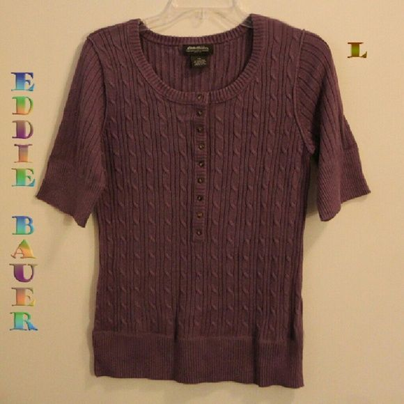 EDDIE BAUER SS cable-knit top, pretty lilac color  Very nice pullover shirt w/long button placket from scoop neckline halfway down front.  Beautiful lilac color, in very good condition - perhaps worn once or twice.  Soft fabric composed of 55% Ramie - 45% Cotton.  From SFPF home.  Eddie Bauer Tops