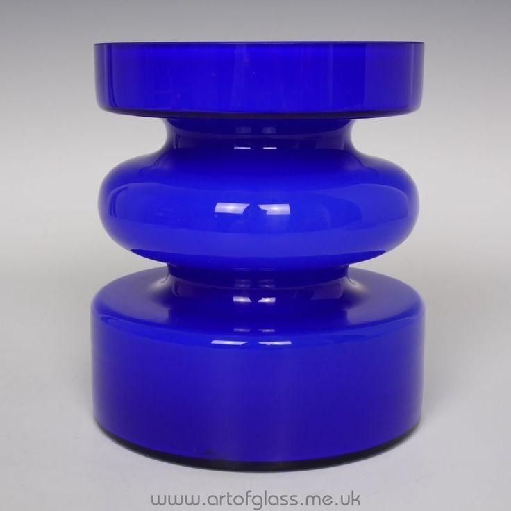 Alsterfors cobalt blue glass vase by Per-Olof Ström