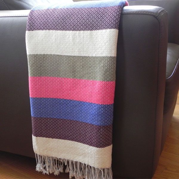 Multi-coloured Striped Handwoven Throw