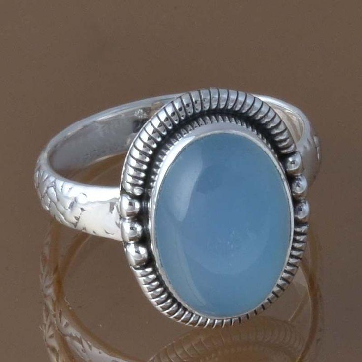 HOT SELLING 925 STERLING SILVER BLUE CHALCEDONY RING 5.40g DJR8344 SZ-8.25 #Handmade #Ring