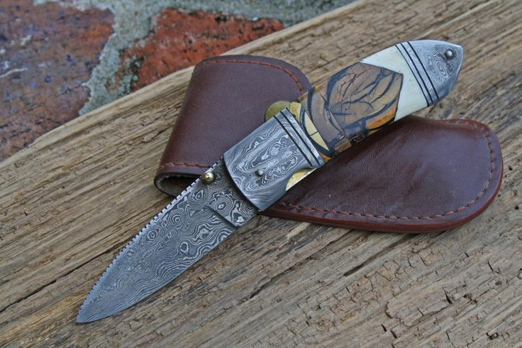 Damascus folder with mammoth tusk ivory fossil and polished camel bone accent