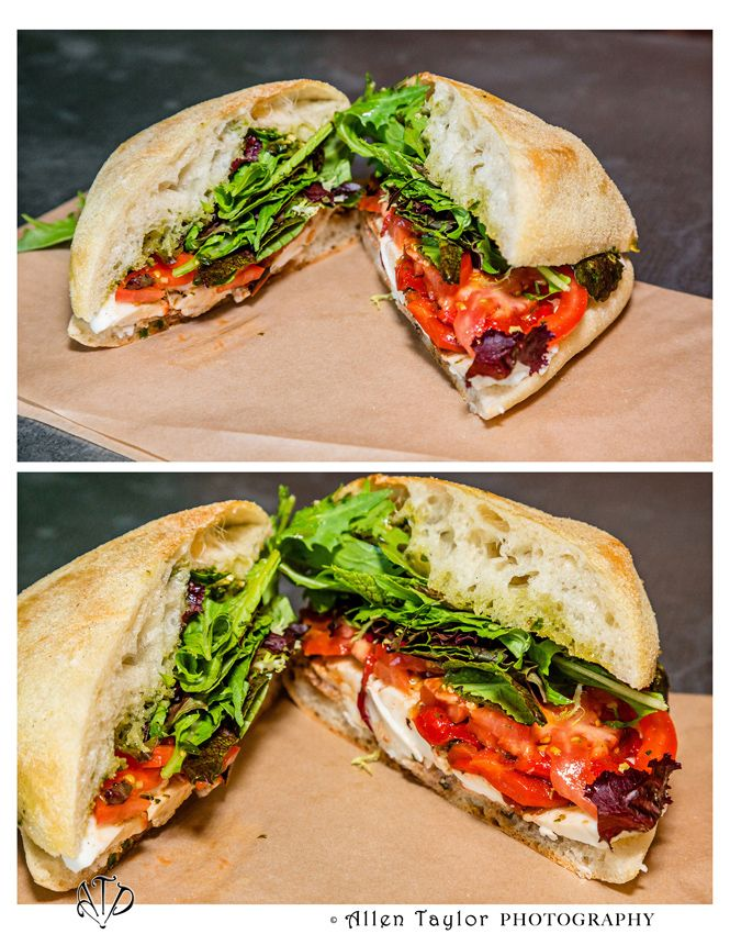 Mendocino Farms Caprese (local Gioia fresh mozzarella, tomatoes, house marinated red peppers, basil pesto, Scarborough Farm's greens, balsamic vinegar on ciabatta + seasonal roasted vegetables).