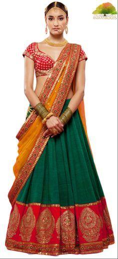 The Lakshmi lehanga in Green by Sabyasachi at Indianroots.com