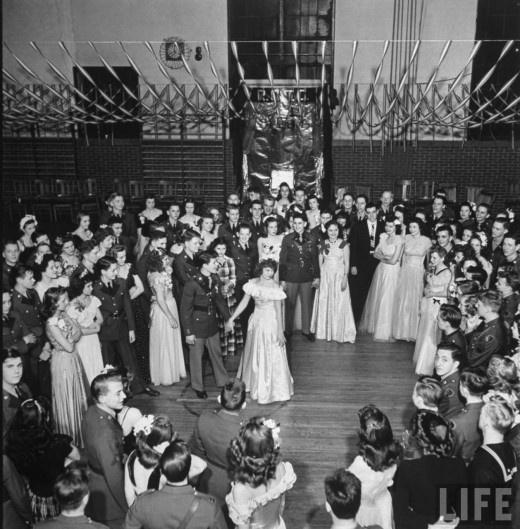 Getting things started, Southwest High School Kansas City ROTC Ball, LIFE magazine, 1945. Photo by Myron Davis.