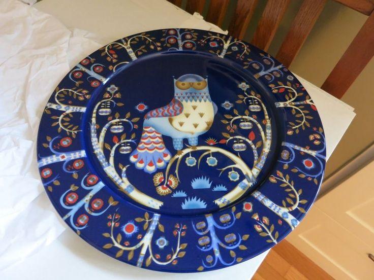 NEW iittala Taika Scandinavian Dinner Plate Platter Blue 11-3/4-Inch OWL Trees  #iittalia