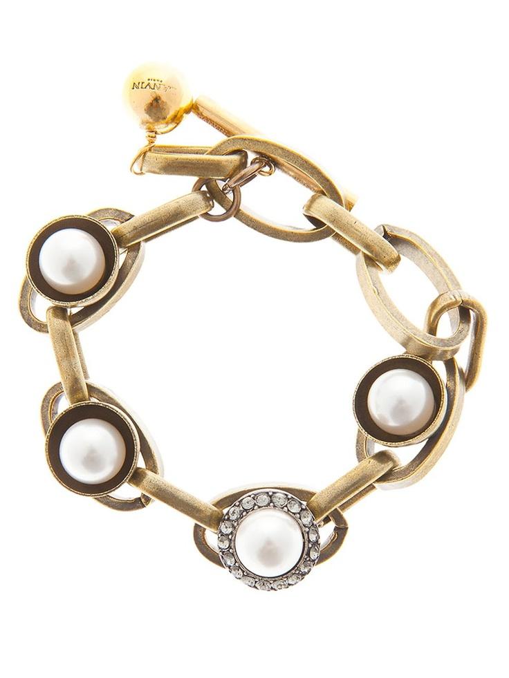 Lanvin brass pearl bracelet