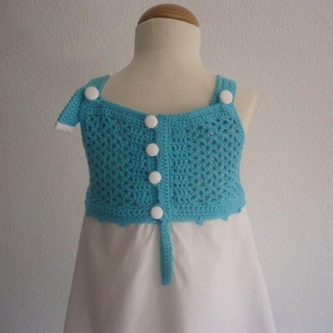 Vestido turquesa y blanco- 3 años / Pipocass - Artesanio