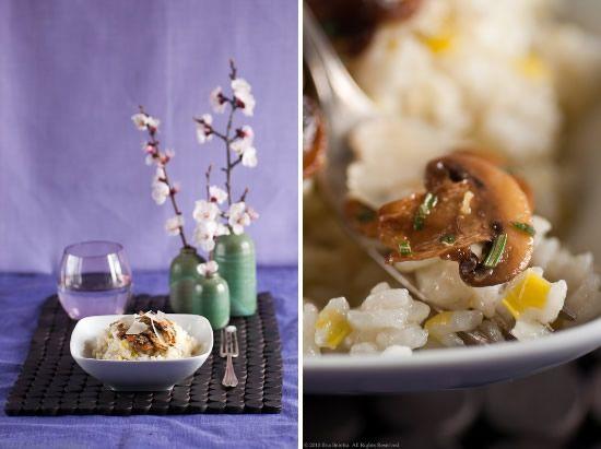 Risotto al porro con funghi marinati alle erbe e pecorino sardo