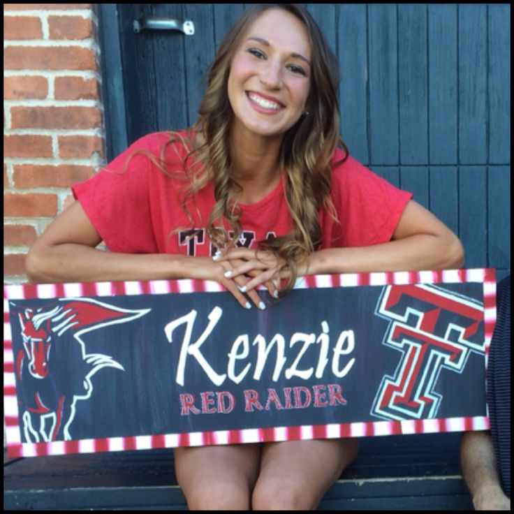 I painted this canvas for my son's girlfriend to hold up in her senior photos. She can include the photo in her graduation announcements to tell her family she was accepted to Texas Tech and later hang it in her dorm room! #RedRaiders #TTU19