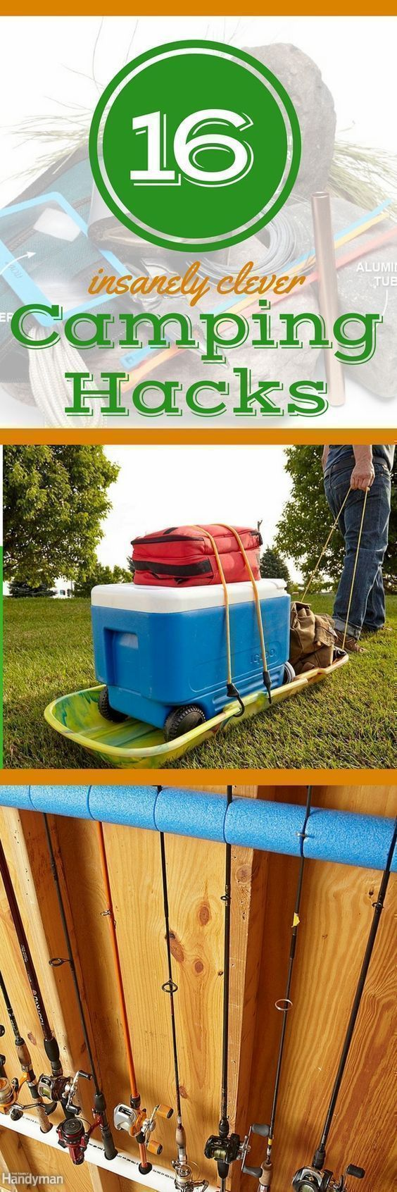 17 Camping Hacks, Tips, & Tricks You'll Wish You Knew Earlier: Hack your camping trips with these clever camping ideas, tips, and tricks. These fun camping ideas take your outdoor adventures to the next level. Plus: discover storage ideas for camping equipment you'll wish you'd been using all along. #canoehacks #KayakStorage #campingequipment #campingtricks #campingstorage #campingadventure #campinghacks #campingstorageideas