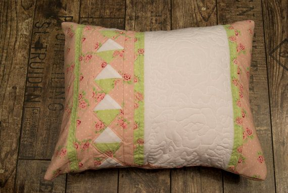 Pink and green cushion with quilting roses by Maggiepatchwork