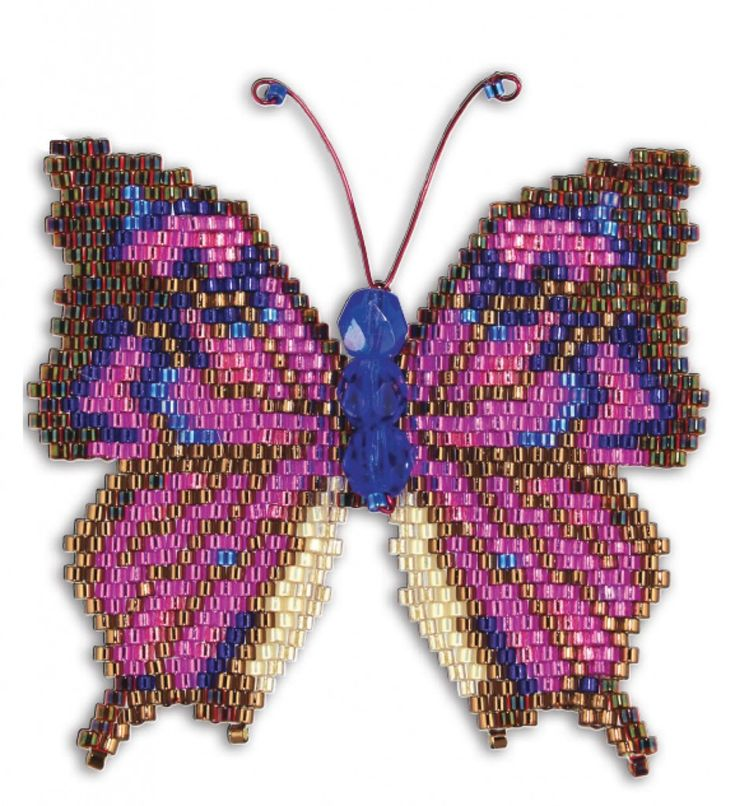 Noble Leafwing beaded butterfly, by Karen Parker