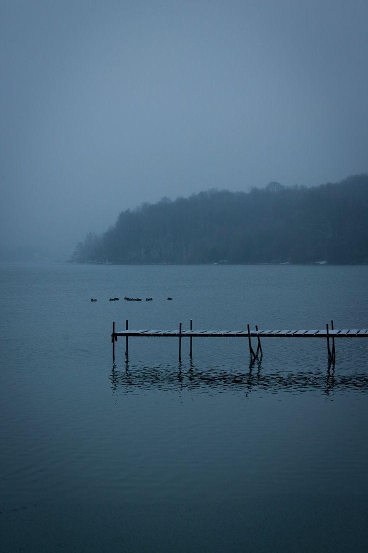 Orfű. #lake #winter #birds #dark #fog #cold #night #dawn #hungary #snow