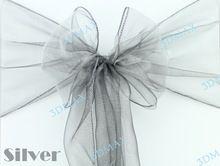 """actieprijs 50 stuks zilver 7"""" x108"""" organza stoel hoes bruiloft decoraties grote korting, mis het niet, beste service(China (Mainland))"""
