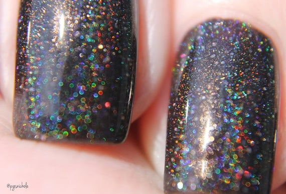 Mirror, Mirror – Pitch Black Holographic Nail Polish – Black Nail Polish with Spectraflair and Glitt – Products