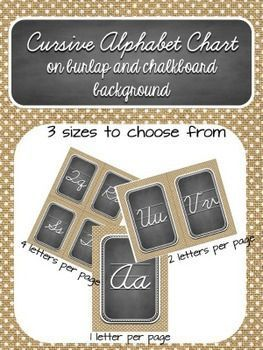 Cursive Alphabet on burlap and chalkboard background