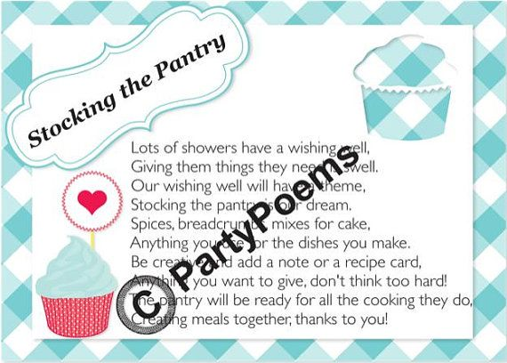 PRINTED  Stock the Pantry Theme Bridal Shower  Poem by PartyPoems, $12.50