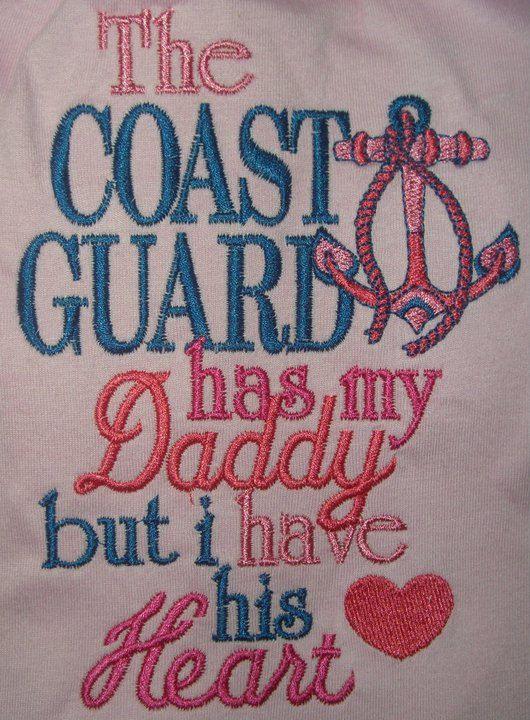 baby shirt coast gaurd   APPLIQUED Custom COAST GUARD has my Daddy Heart baby girl shirt onesie