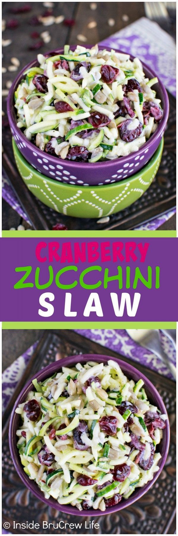 Cranberry Zucchini Slaw - nuts and berries give this easy salad a great sweet and salty flavor. This easy recipe is perfect for summer picnics!