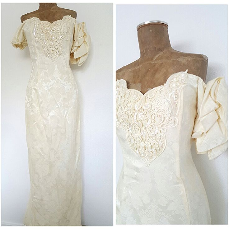Vintage 80s Jessica McClintock Wedding Dress Size Medium Puff Sleeve Floral