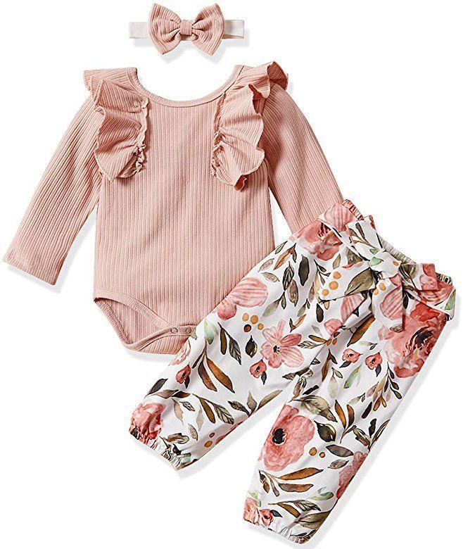 2pcs Kleinkind Neugeborenes Baby Mädchen Blumenmuster Body Strampler Outfits