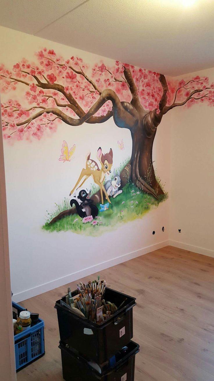 Bambi bloesem muurschildering