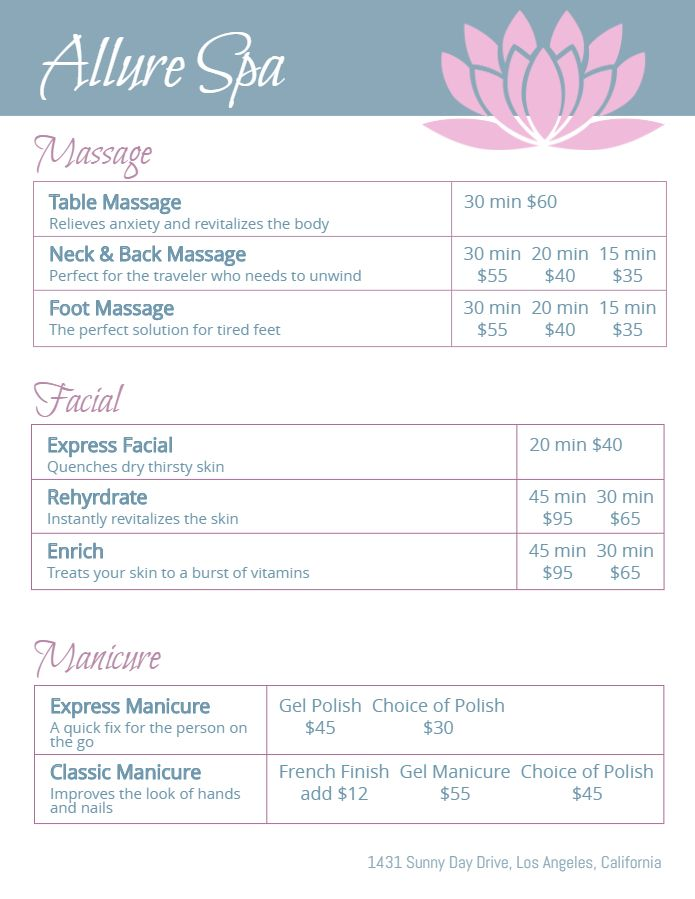 Modern Spa Price List Design