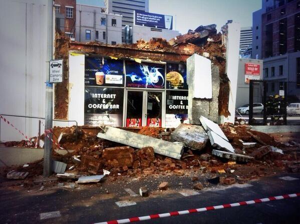 Cape November Storm | Ian Bredenkamp @Ian Tuck Tuck Tuck Bredenkamp Collapsed building in Bree st Cape Town snapped by @Stewart Scott Scott McKean Shapiro #CapeStorm