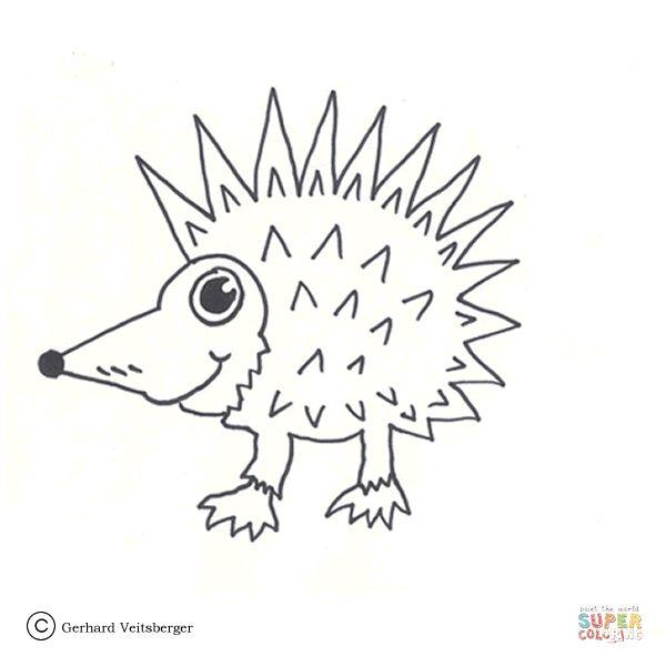 Cute European Hedgehog Coloring