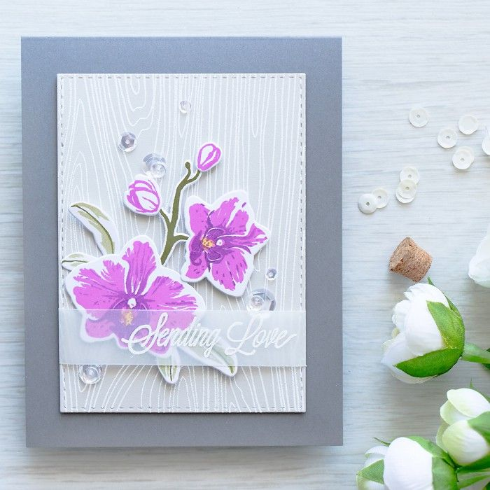 Hero Arts Orchids; Sending Love; vellum; woodgrain background; purple; stamp layering; color layering; big flower; flower die; floral