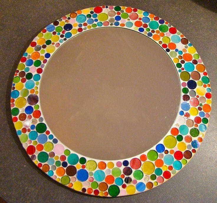 Miroir mural en verre :: Pois multicolores : Décorations murales par l-mosaique