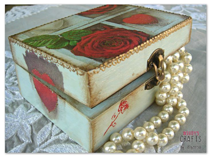 Wooden handmade jewelry box | Decoupage Art | Woody's Crafts by Ifigeneia
