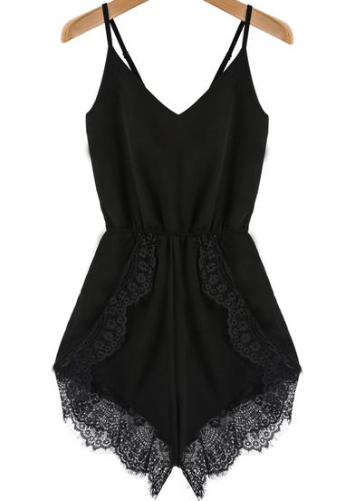 Black Spaghetti Strap Lace Chiffon Jumpsuit pictures -with a black blazer... where is my black blazer?