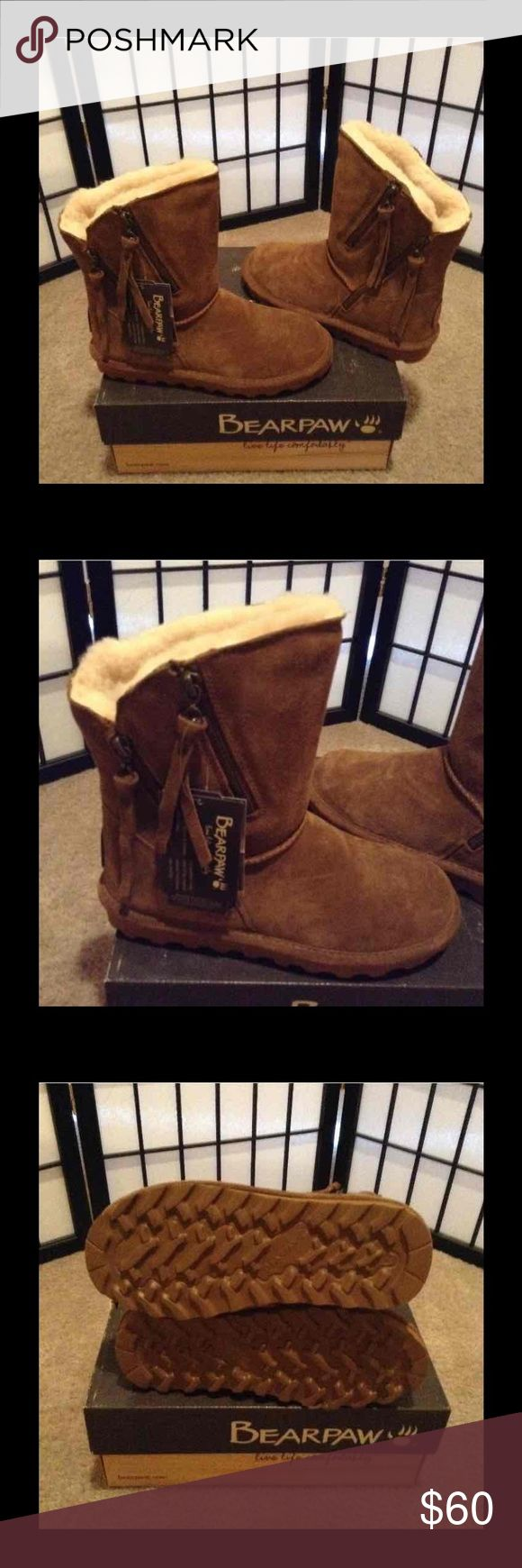 Ladies BearPaw Boots Brown size 7 New New with tags.  Sheep skin and wool lining. BearPaw Shoes Winter & Rain Boots