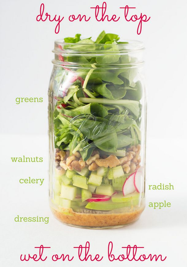 Fresh And Springy Walnut, Radish, And Apple Salad | 18 Mason Jar Salads That Make Perfect Healthy Lunches