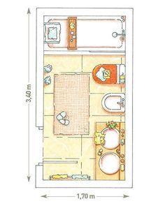 BAÑO CON PLANTA RECTANGULAR DE 6 M². La distribución más adecuada en este tipo de baños consiste en alinear en un solo frente los sanitarios y colocar la bañera al fondo. Así se hizo en este espacio de 6 m2. Frente a la puerta de entrada se situaron dos lavabos, encastrados en una encimera que se prolongó en una repisa, y debajo se ubicó un armario con mucho espacio de almacén. A continuación se colocaron el bidé y el inodoro, alineados.