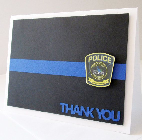 Its time to thank your local police departments! Send them a personalized card to show your appreciation. Police officers work so hard to keep us safe and they can use all the support they can get. This Thin Blue Line card can be created with the badge art from any police department. 5.5