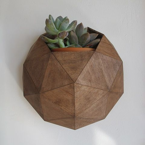 Handcrafted Hardwood Dome Planter