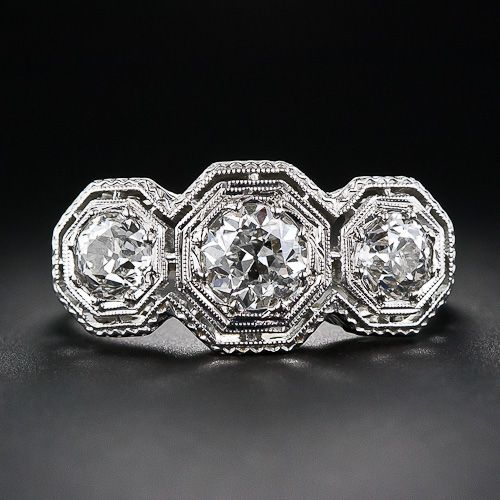 art deco engagement rings | Art Deco 3-Stone Engagement Ring, Image Courtesy of laantiques.com