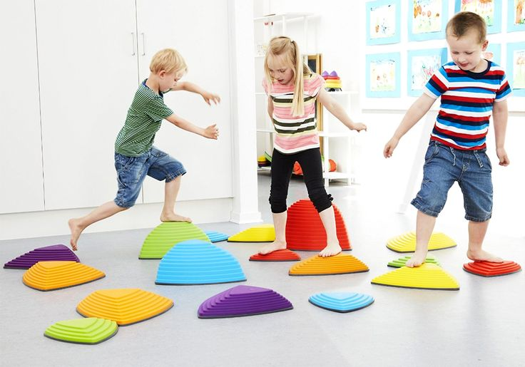 Gonge Riverstones and over 7,500 other quality toys at Fat Brain Toys. Hop from stone to stone for physical education turned active play adventure! - Each riverstone is brilliantly colored, features different angles and ridges, and is built with a non-slip surface and rubber edges, so there's never any fear of falling.