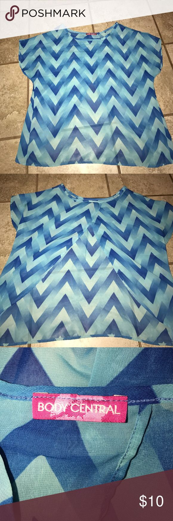 Chevron Butterfly Back Shirt Has butterfly open back.. worn a couple times. Like new Body Central Tops Blouses